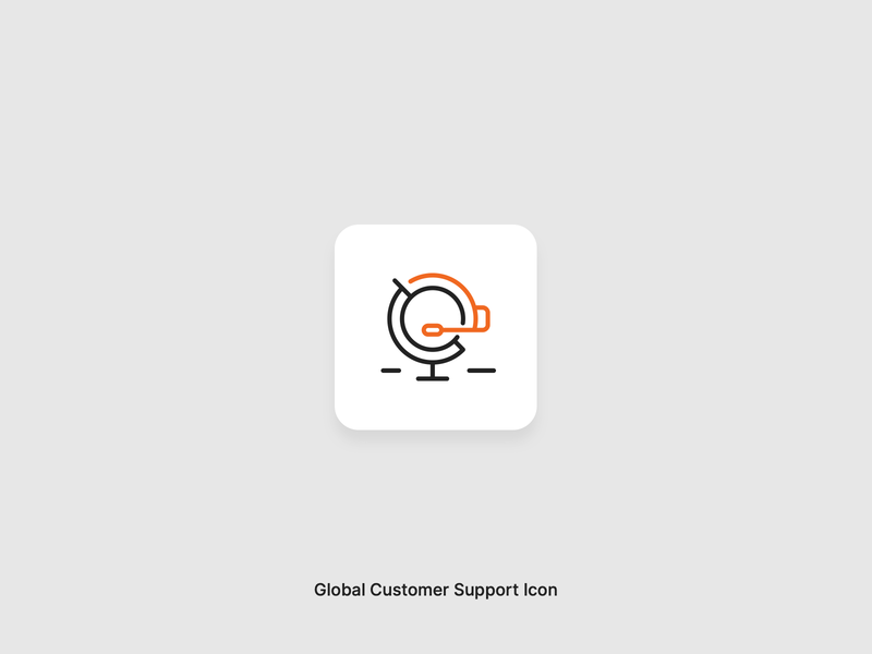 Global Customer Support Icon vectors vector icon design iconography support customer global icon