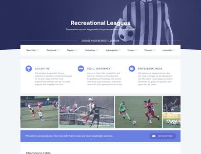 Rec soccer league landing page