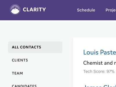 Clarity Screenshot lists ui project management concise clean clear data clarity