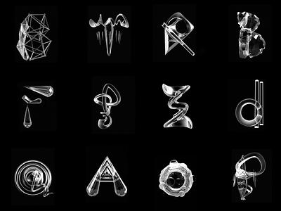 Matter Alphabet 3d letterforms abstract type matter