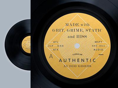 Grit, Grime, Static znd Hiss vinyl haltone badge typography record