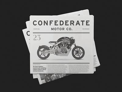 Confederate Motor Co. Newspaper motorcycle brochure newspaper interstate