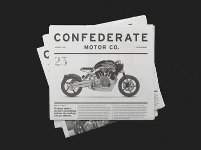 Confederate Motor Co. Newspaper