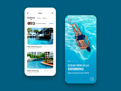 Mobile APP UI - Swim typography ui ux design app