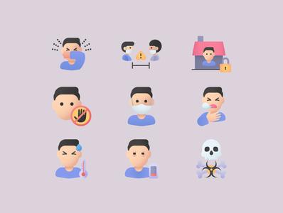 Free Virus Set corona virus vector icon icons design icon design vector icons svg icons icons pack icons set iconography iconset icons icon stayhome healthcare health covid-19 covid19 corona coronavirus virus