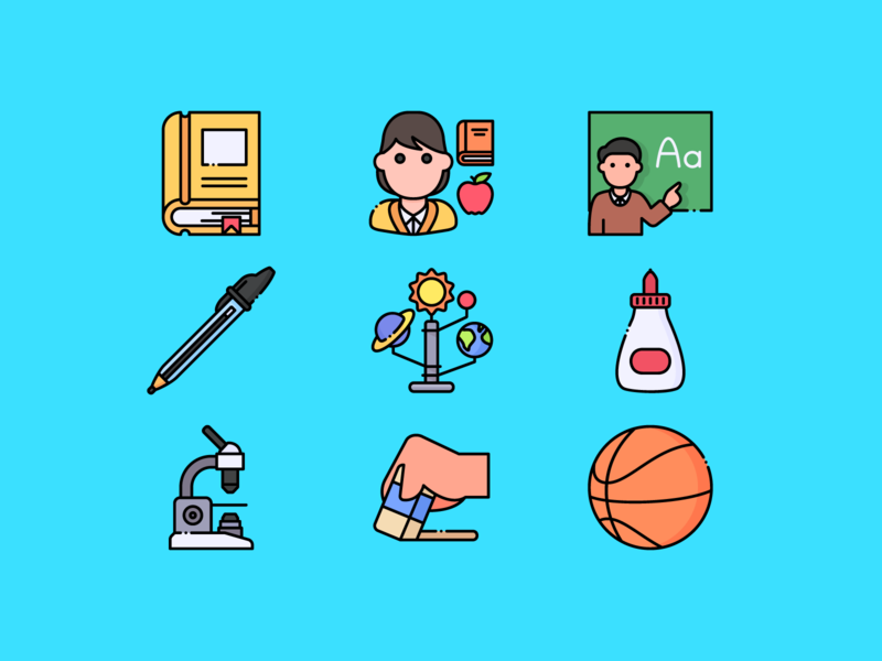 Back to School iconset vector design ai svg icons illustration education icons school icons icons icon educational teacher backtoschool education school