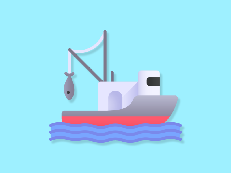 Fishing Boat Icon gradient iconography svg icons icons iconset vector illustration icon ship boat fish fishing rod fishing water summer ocean sea