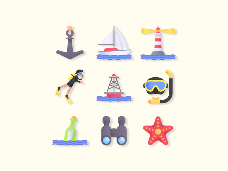 Ocean Icon Set vector ai illustration svg icons iconography iconset icons icon anchor sealife boat water summer vacations ocean life sea ocean