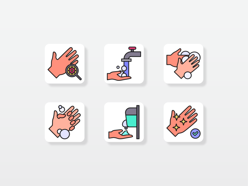 Hand Washing Icon Set wash healthy health healthcare prevention icon design svg icons iconography iconset icons icon medical virus covid 19 covid covid-19 hygiene hand wash hands hand