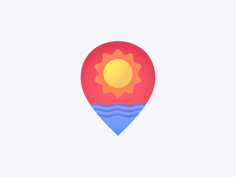 Sea Location summertime map pin location ocean sun icon sea summer