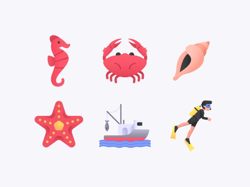 Sea Icon Set diving diver ocean fishing seahorse starfish shell crab sealife fish boat vacations summer sea
