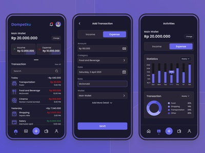Dompetku - Wallet App Dark Mode ui mobile app money app