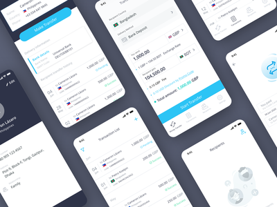 VALAPAY - MOBILE APPLICATION list delivery history recipient status emptystate contact app money transfer payment transition branding design track ui interface product design