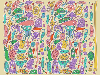 Monster Pattern pattern art pattern ghost monster vector illustrator illustration graphic design design character art