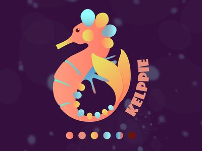 Logo for Kelppie clothes shop seahorse kelpie branding logo character graphic design illustration design art illustrator
