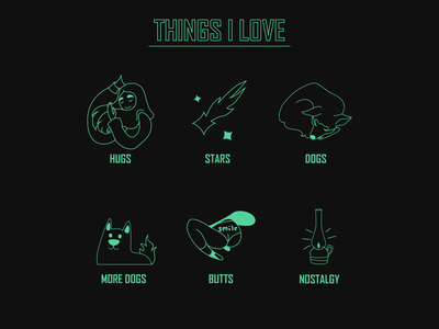 Things I love hugs stars nostalgia butt dogs icon set icons icon flat character vector graphic design illustration design art illustrator