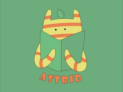 Astrid Logo Design logo branding flat childrens book character vector graphic design illustration design art illustrator