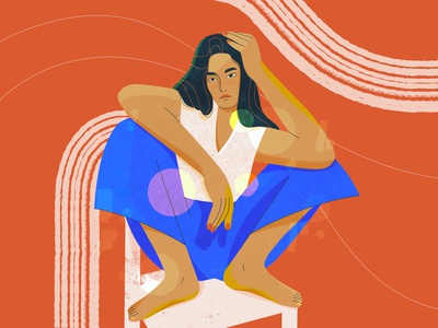Character illustration portrait minimalist flat illustration lines sitting colorful girl girl character brunette posing pose modeling model 2d character characterdesign concept procreateapp flat illustration digital illustration