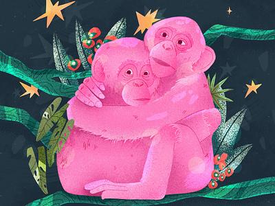 Hugging Monkeys wood green pink digital art art direction flat design 2d animals wild graphic design hugging monkey characterdesign procreateapp concept illustration digital illustration