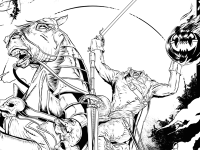 Headless Horseman - Sleepy Hollow illustration comic pen and ink ink sequential art comic book horror headless horseman sleepy hollow halloween