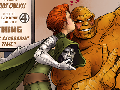 The Thing - Fantastic Kiss illustration comic fantastic four fantastic 4 thing ben grimm doctor doom kiss cosplay comicon