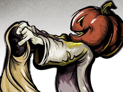 Trick Or Treat cartoon illustration vector halloween character pumpkin comic storybook