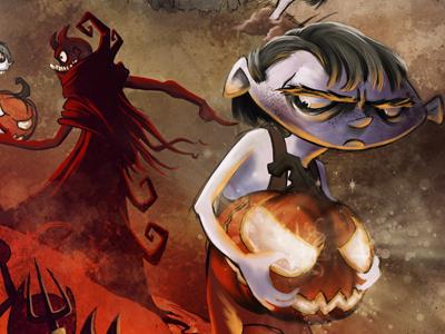 Wicked Jack illustration painting storybook childrens book halloween dark pumpkin jack o lantern