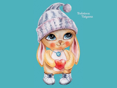 Children's illustration: Rabbit in a knitted hat