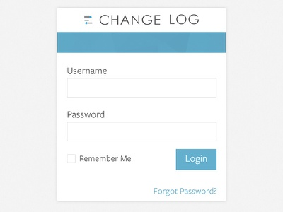 Change Log sign in login form landing log in blue white flat