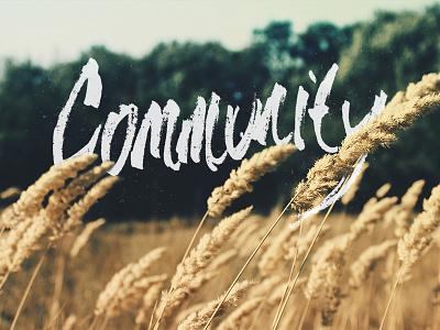 Community community wheat banner hand-drawn type