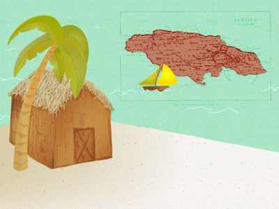 Beach Hut hut palm tree map jamaica sail boat ocean sand beach
