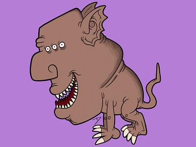 cuadrúpedo trisojo monstruo cuadrupedo brown delman art characterdesign beast procreate illustration monster