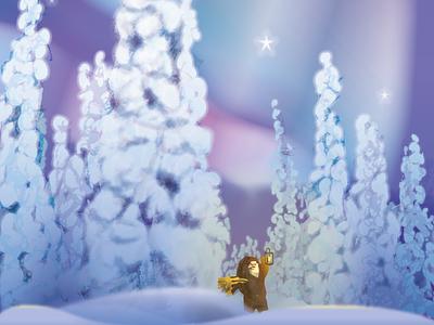 Seasons Greetings card illustration illustration winter greeting card xmas christmas northern lights