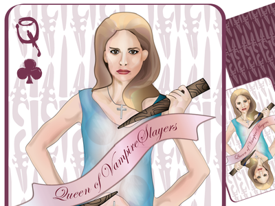 Playing card concept: Queen of the Vampire Slayers illustration playing card vampires slayers girly
