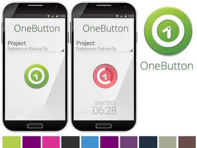 Onebutton application visual style and logo logo corporate style web ui graphic design