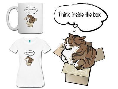 Think inside the box cat - illustration for t-shirts etc cat illustration t-shirt merchandise mug