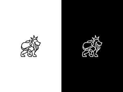 Simple Line Lion King Logo in Black and White