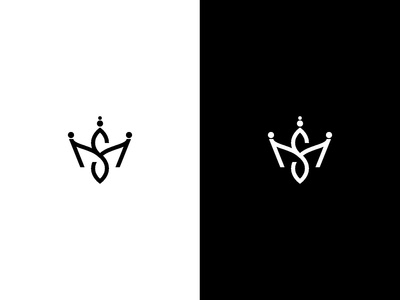 M and S letter Shape a Crown Logo in Black and White