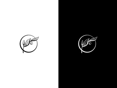 Simple Line Plant Logo in Black and White