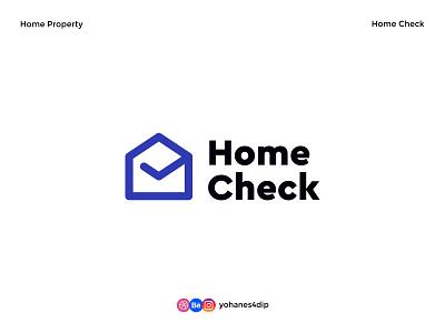 Home Check - Home Property Logo check line art outline logo generic hoem property house logo home logo logomark logotype icon logodesign simple logo logo design flat minimal design logo
