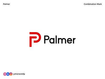 Palmer - Combination Mark Logo abstrack wordmark lettering monogram lettermark logomark logotype logodesign simple logo logo design flat minimal design logo