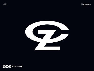 CZ Monogram Logo bold wordmark lettermark monogram logotype typography logodesign simple logo logo design minimal design logo
