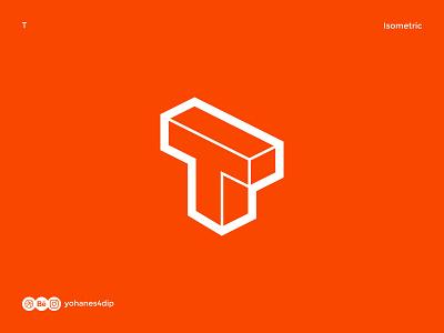 Isometric Logo Letter T isometry logomark lettermark 3d art 3d isometric icons isometric design isometric logotype logodesign simple logo logo design flat minimal design logo