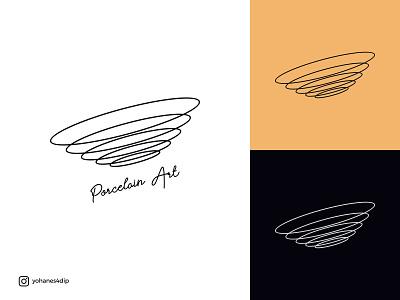 Porcelain Art Logo modern logo design art minimal flat branding line art lineart line logo
