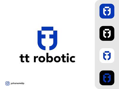 tt robotic Logo minimal simple logo illustration logo design icon vector app branding design logo