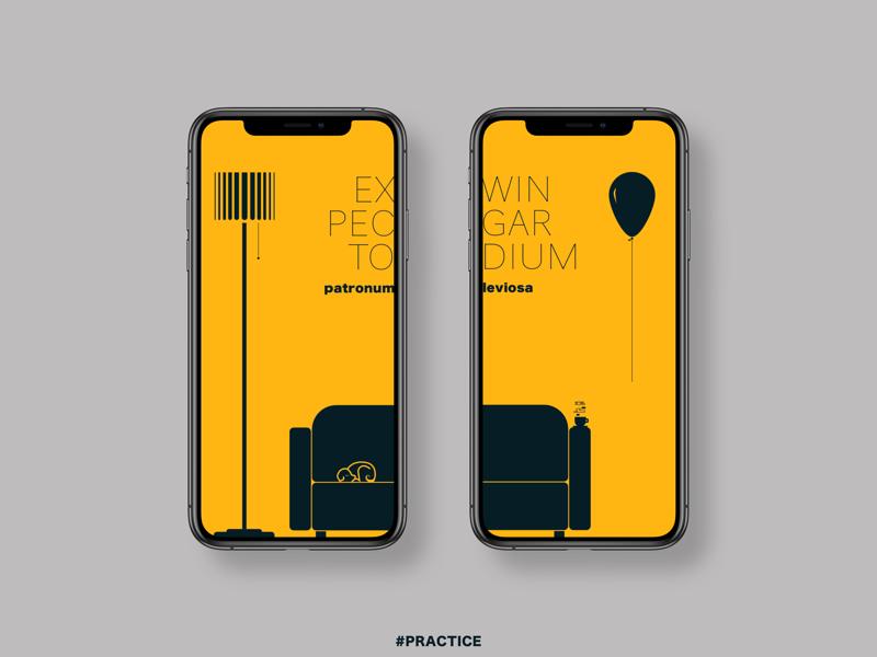 Expecto patronum! flutter sketch flat youth yellow minimal app vector ui design illustration