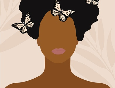 butterflies on the hair