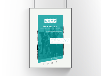 Print   Poster printet material tech talk the camp tech event inhouse advertising inhouse marketing poster signup poster signup entrepreneur startup technology event poster event graphic design print design print design
