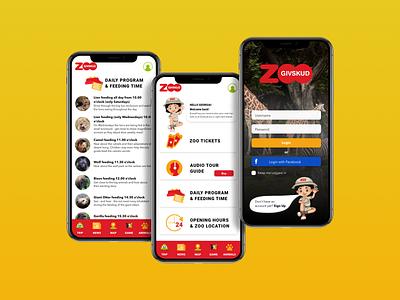 Application design | Givskud Zoo illustration colorful red yellow safari safari park animals tickets nav bar ui design ui education navigation zoo application zoo app app design application design application