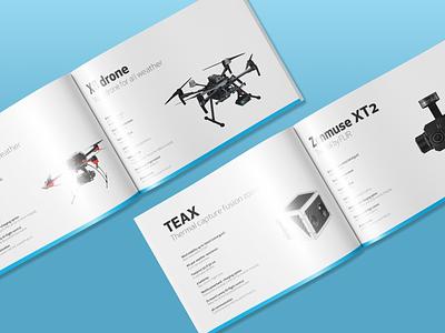 Sales brochure | Lorenz Technology ApS robotics odense denmark ai surveillance high tech blue opening graphic design printed material magazine drones entreprenour startup tech startup tech brochure sales brochure brochure print design print